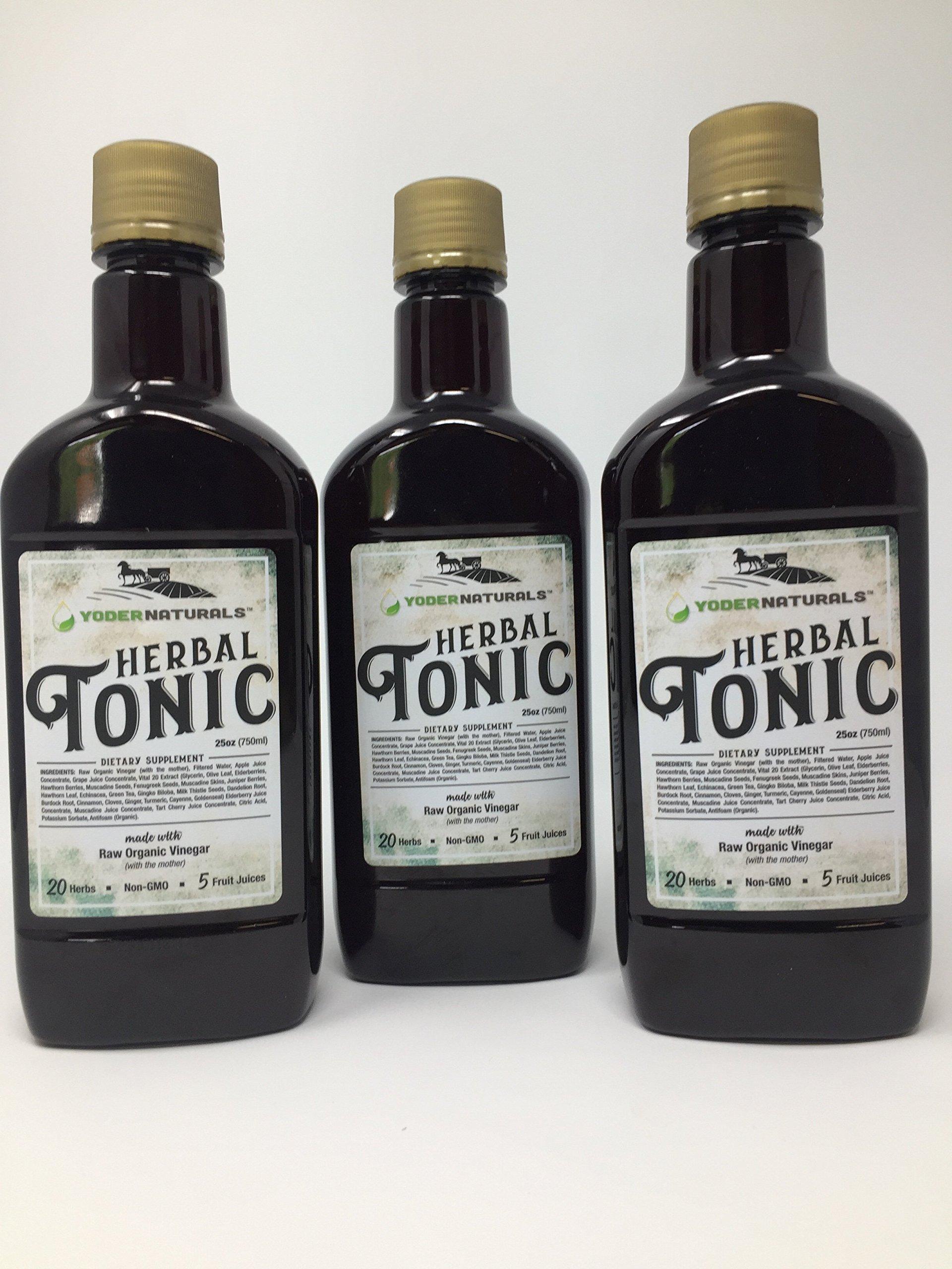 Yoder Naturals Herbal Tonic Herb Infused Apple Cider Vinegar Supplement 25 fl oz, 3 Bottle Deal 3 x 25 fl oz by Yoder Naturals