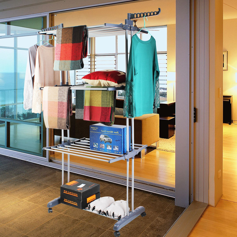 jusdreen 3 Tier Rolling tendedero de lavandería Rack con alas plegables forma interior/exterior de pie airfoil-style ropa Rack Hanger - Gray & Electroplate: ...