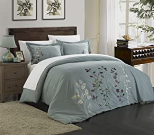 Chic Home Kaylee 3 Piece Floral Embroidered Duvet Set, King, Green