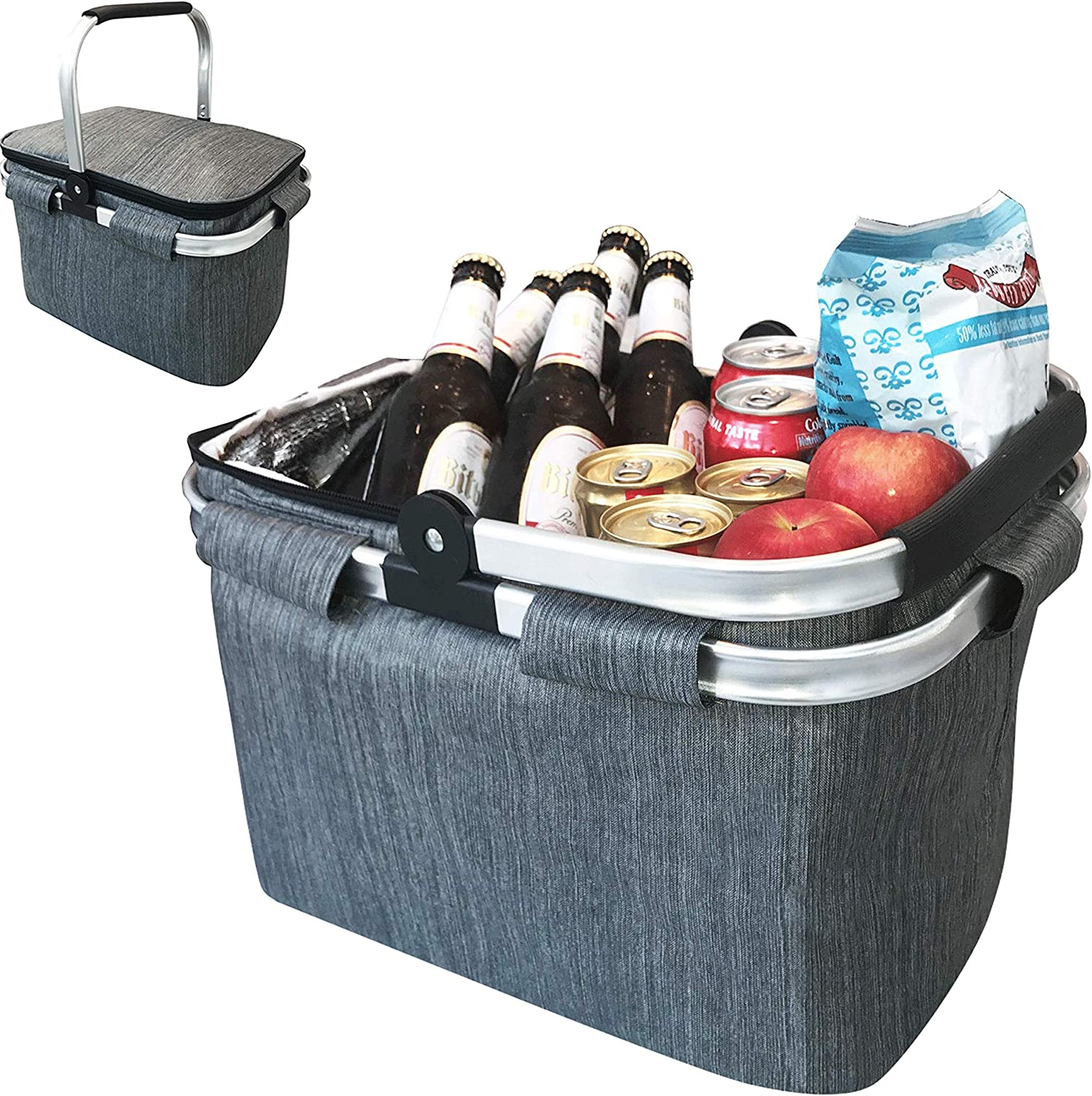 Large Insulated Picnic Basket Cooler | 7.7 Gal Capacity Leakproof Folding Collapsible Portable Market Basket Bag Set Aluminum Handles for Travel, Shopping and Camping | Keeps Wine, Food & Drinks