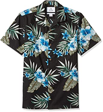 7ca97a696e3f 28 Palms Men's Standard-Fit 100% Cotton Tropical Hawaiian Shirt, Black/Blue