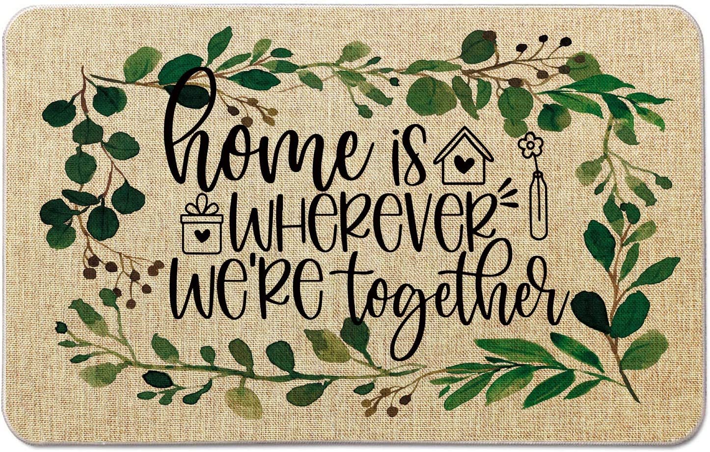 Occdesign Housewarming Welcome Mat for Front Door Farmhouse Rustic Decorative Entryway Outdoor Floor Doormat Durable Burlap Outdoor Rug | Home is Wherever We're Toghter