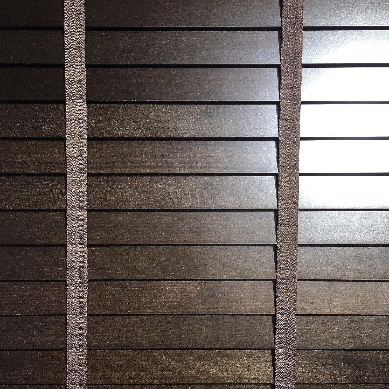 Kskeskin Holzjalousie Dunkelbraun Lamellenbreite 50 mm B= 120 cm L= 170 cm Kein Plastik  Neue Wickeltechnik