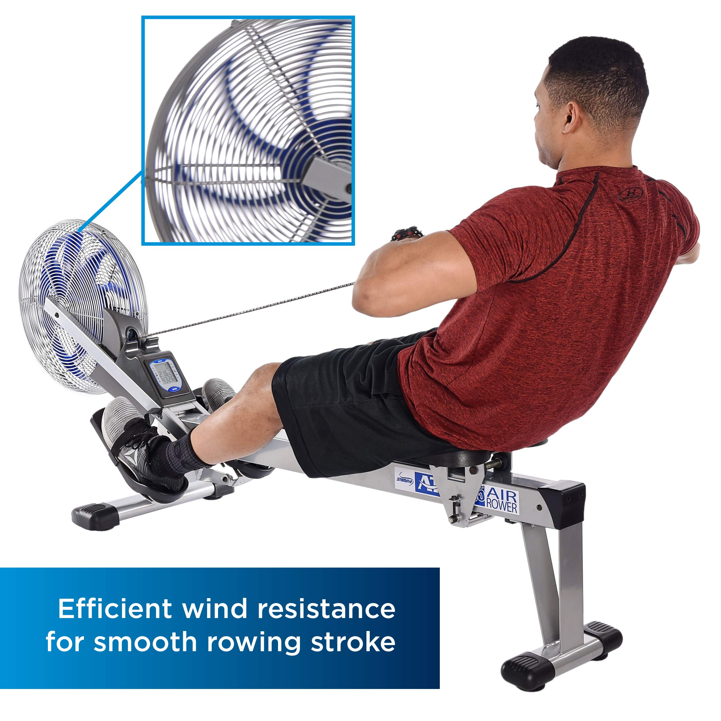 Stamina 35-1405 ATS Air Rower 1405 Rowing Machine, Air Resistance, LCD Fitness Monitor, Folding and Built-in Wheels, Chrome/Blue/Black by Stamina (Image #3)