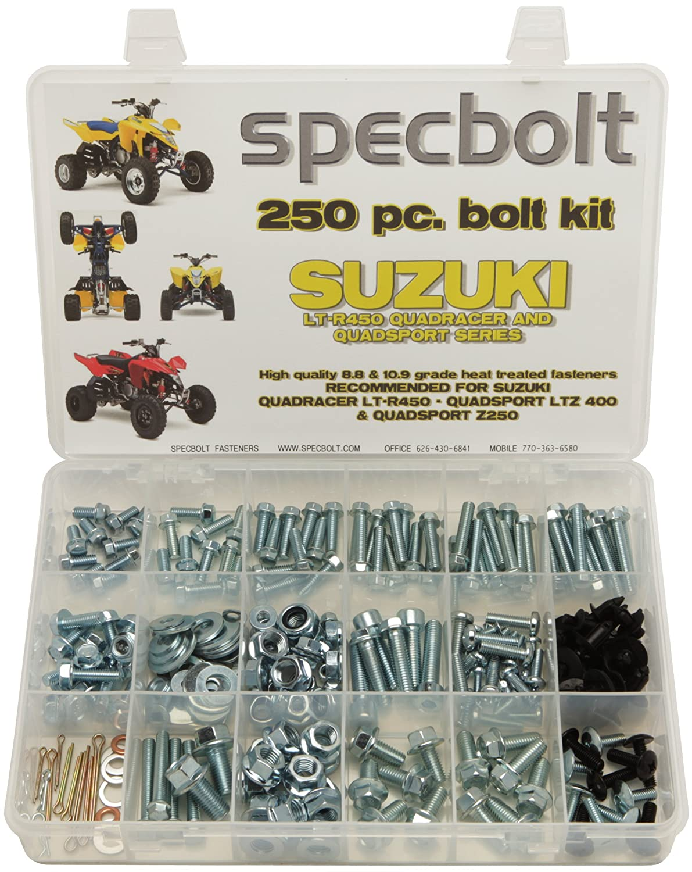 120pc Specbolt Suzuki LT-R450 LTZ400 Z250 ATV Quad Bolt Kit for Maintenance /& Restoration OEM Spec Fasteners