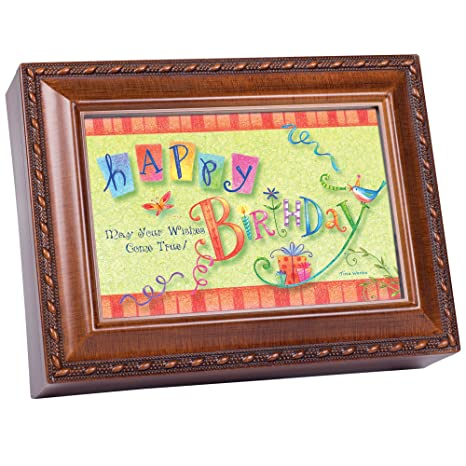Birthday Wishes Woodgrain Music Box Plays Happy Amazonin Toys Games