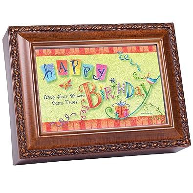 Cumpleaños deseos, diseño de madera caja de música Reproduce ...