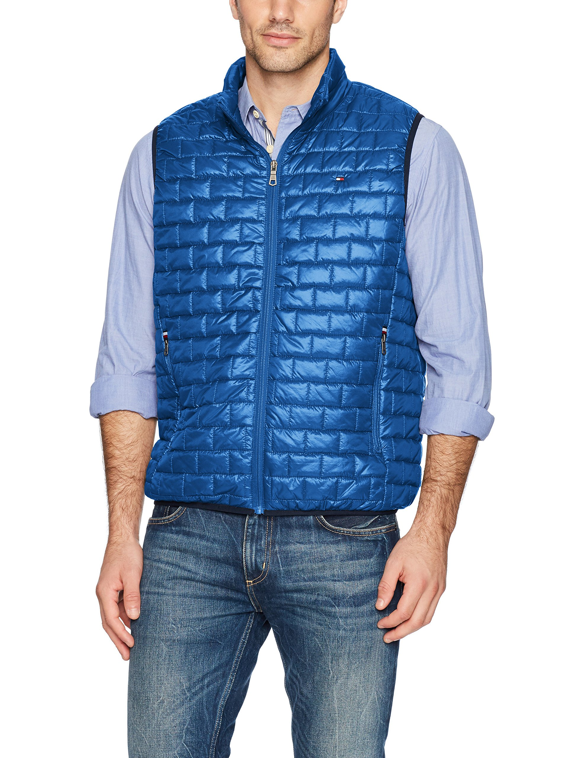 Tommy Hilfiger Men's Box Quilted Lightweight Ultra Loft Vest, New Royal, Small by Tommy Hilfiger