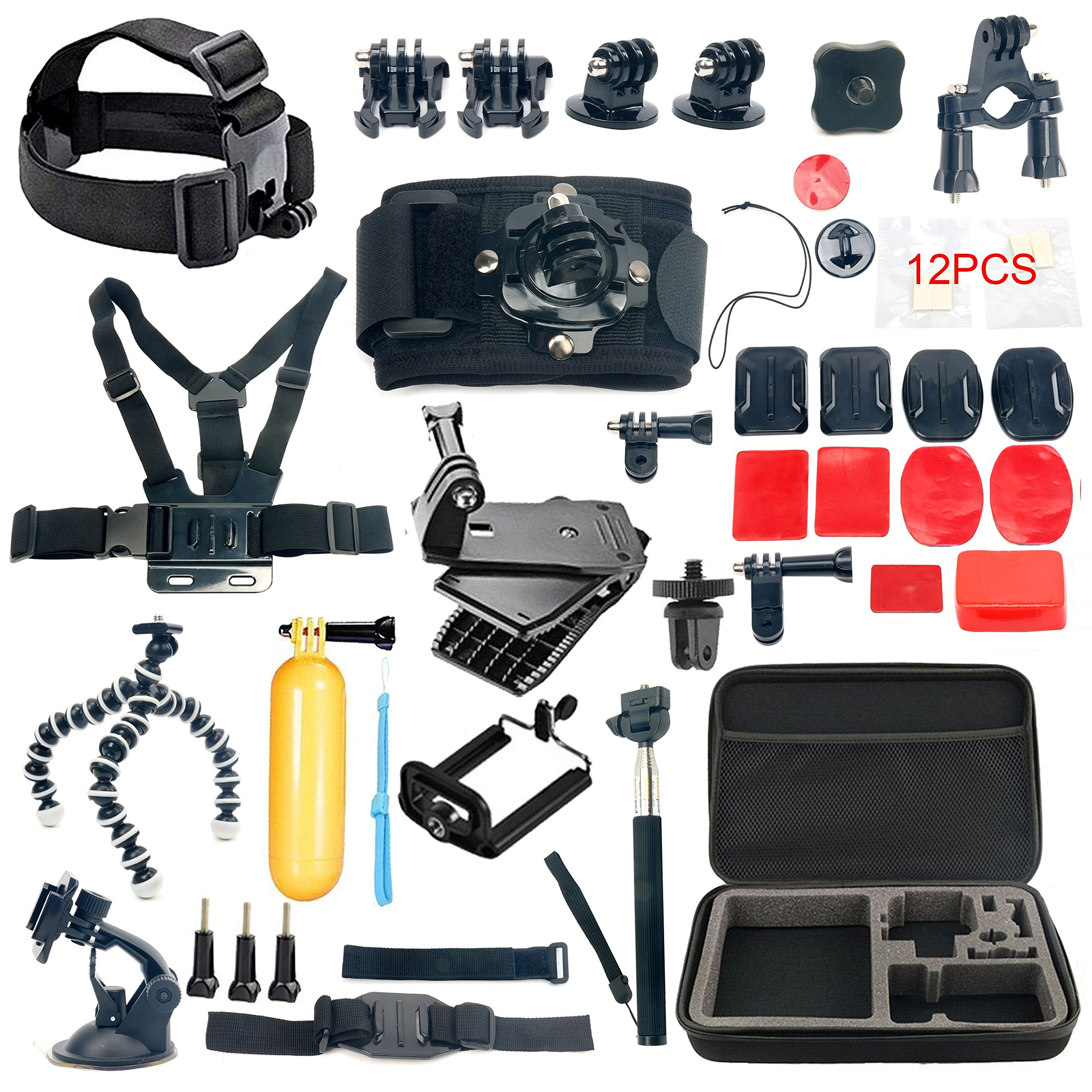 YaeCCC 42-in-1 Gopro Accessory Kit for GoPro Hero5 Black, Hero5 Session, Hero 4 Silver Black, Hero Session, Accessory Bundle Set for GoPro Hero3+ 3 2 1, SJ Cam Xiaoyi