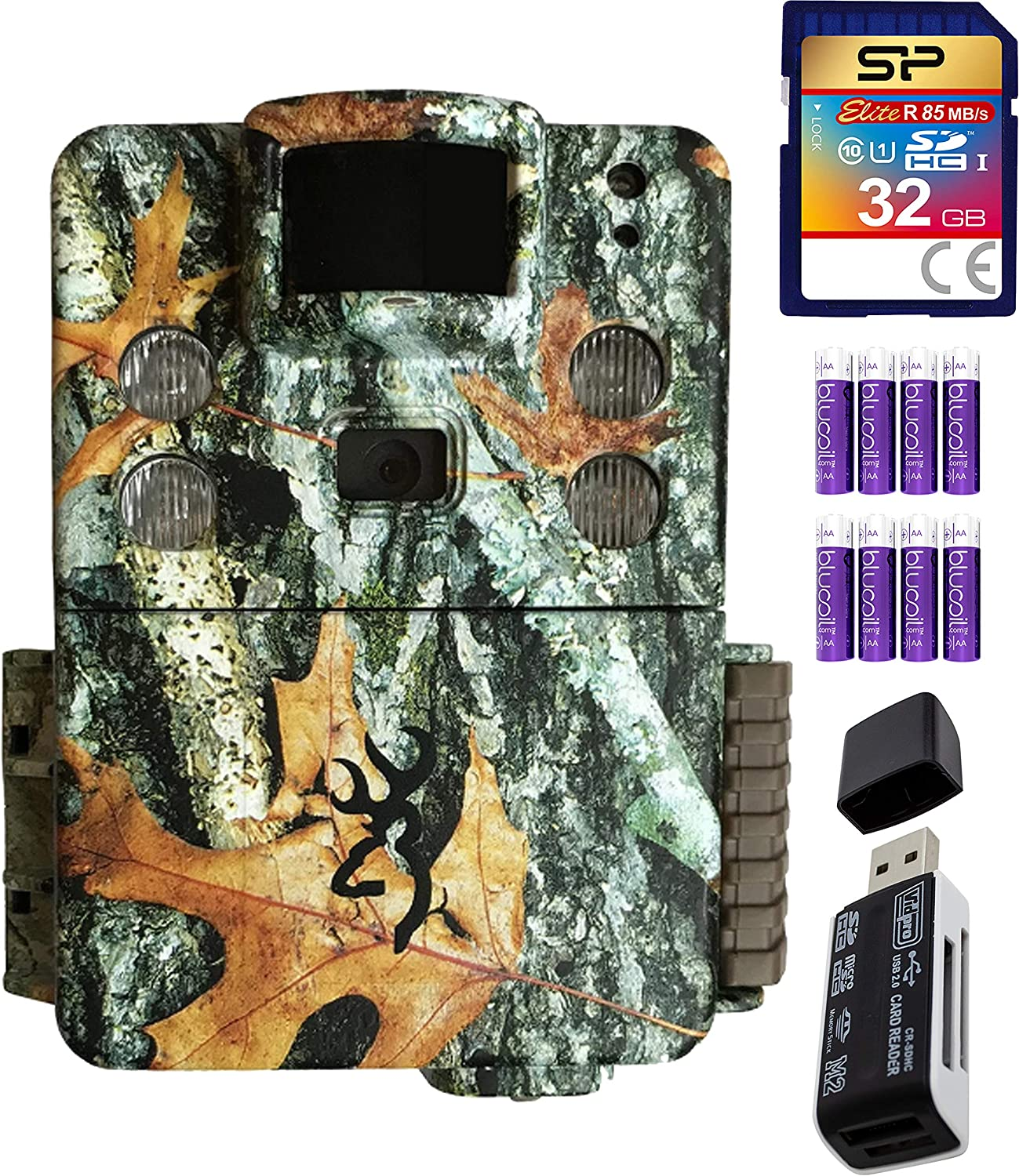 Browning Trail Cameras BTC-5HD-APX Strike Force HD Apex 18MP Game Cam (Camo) Bundle with SB 2.0 Card Reader, Silicon Power 32GB Class 10 SDHC SD Card, and Blucoil 8 AA Batteries