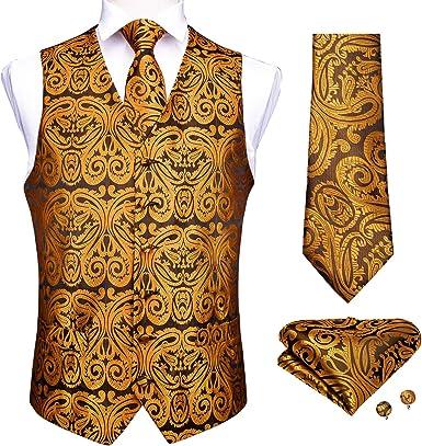 DiBanGu - Chaleco de cachemira para hombre, diseño floral ...