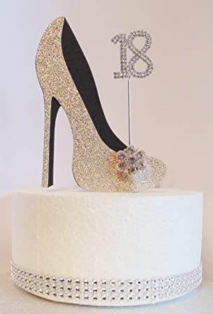 18th Birthday Cake Decoration Shoe Gold And Black With Crystal