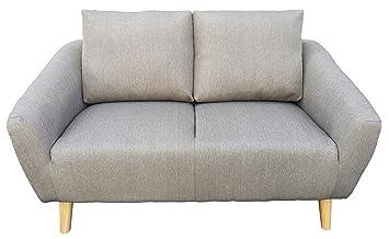 Divano 2 Posti Sofa Tessuto grigio e piedi in Legno per arredo ...