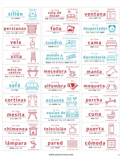 Amazon.com: Guru Stickers Spanish Flash Cards | Learn Spanish for Kids and Adults | 180 Spanish Vocabulary Labels for Everything in The Home, ...
