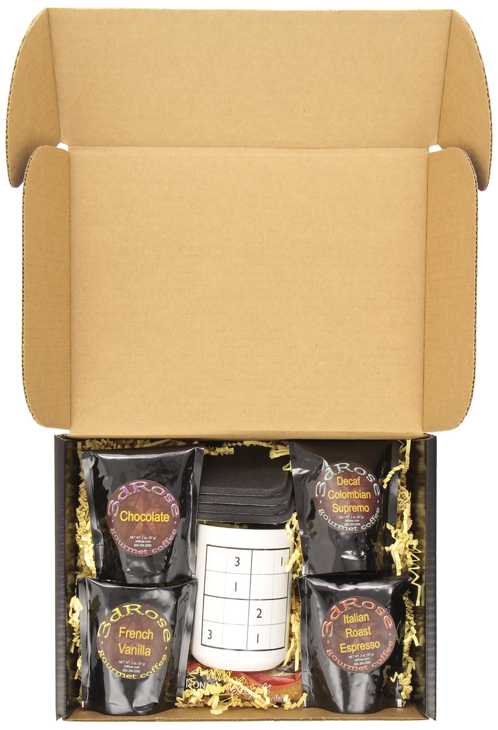3dRose Sudoku Coffee Gift Basket, Multi