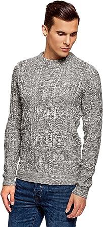 oodji Ultra Hombre Jersey Ancho de Punto Texturizado