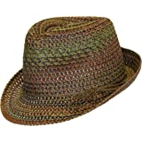 Super Cute Boho Festival Straw Fedora with Raffia String Trim Tied Off to Side in Low Profile Bow