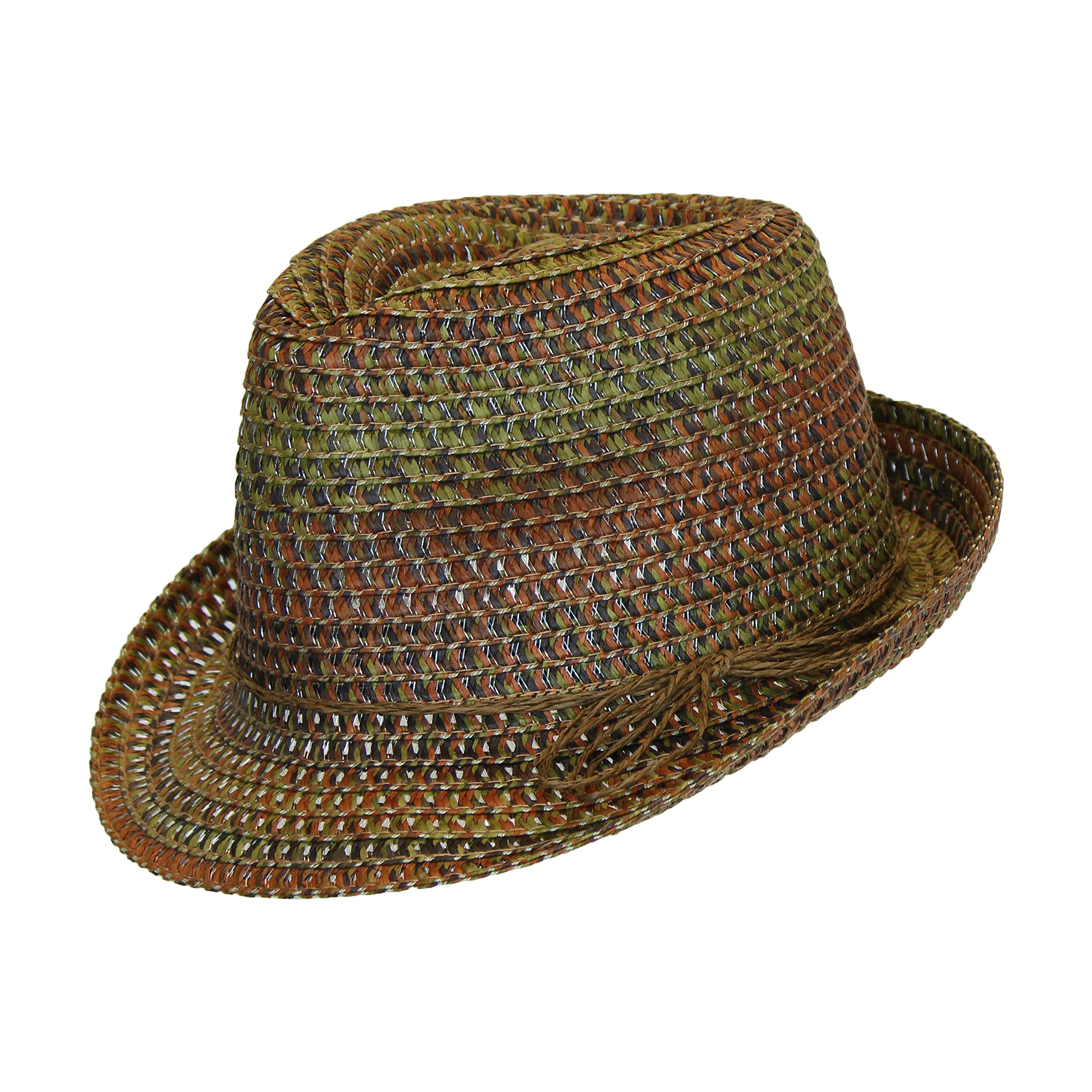 Boho Festival Straw Fedora Sun Hat in Olive, Brown and Rust Earth Tones, One Size