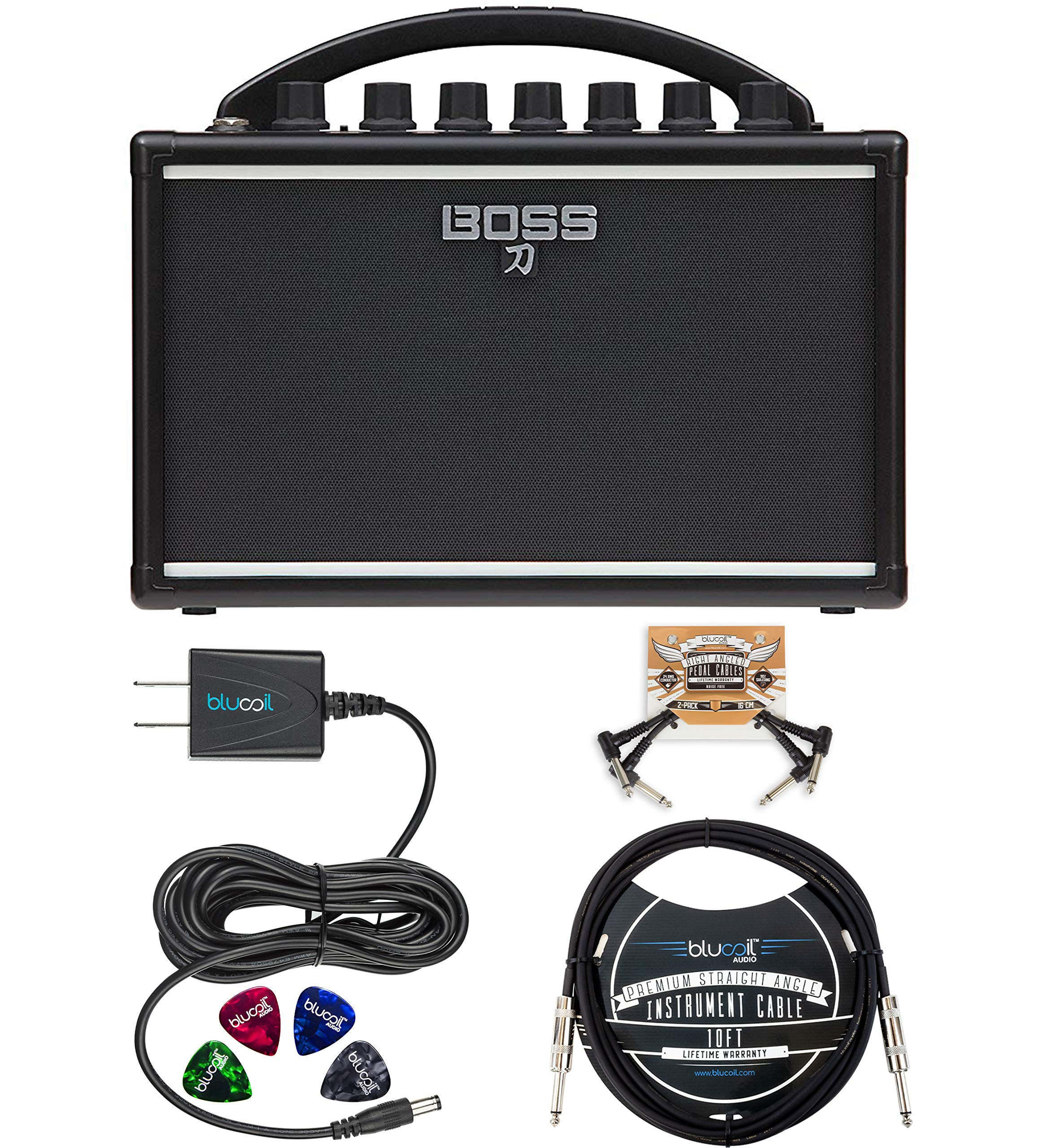 BOSS Katana Mini Amp 7W Solid State Amplifier Bundle with Blucoil Slim 9V 670ma Power Supply AC Adapter, Blucoil 10-FT Mono Instrument Cable, 2-Pack of Pedal Patch Cables, and 4x Guitar Picks by blucoil