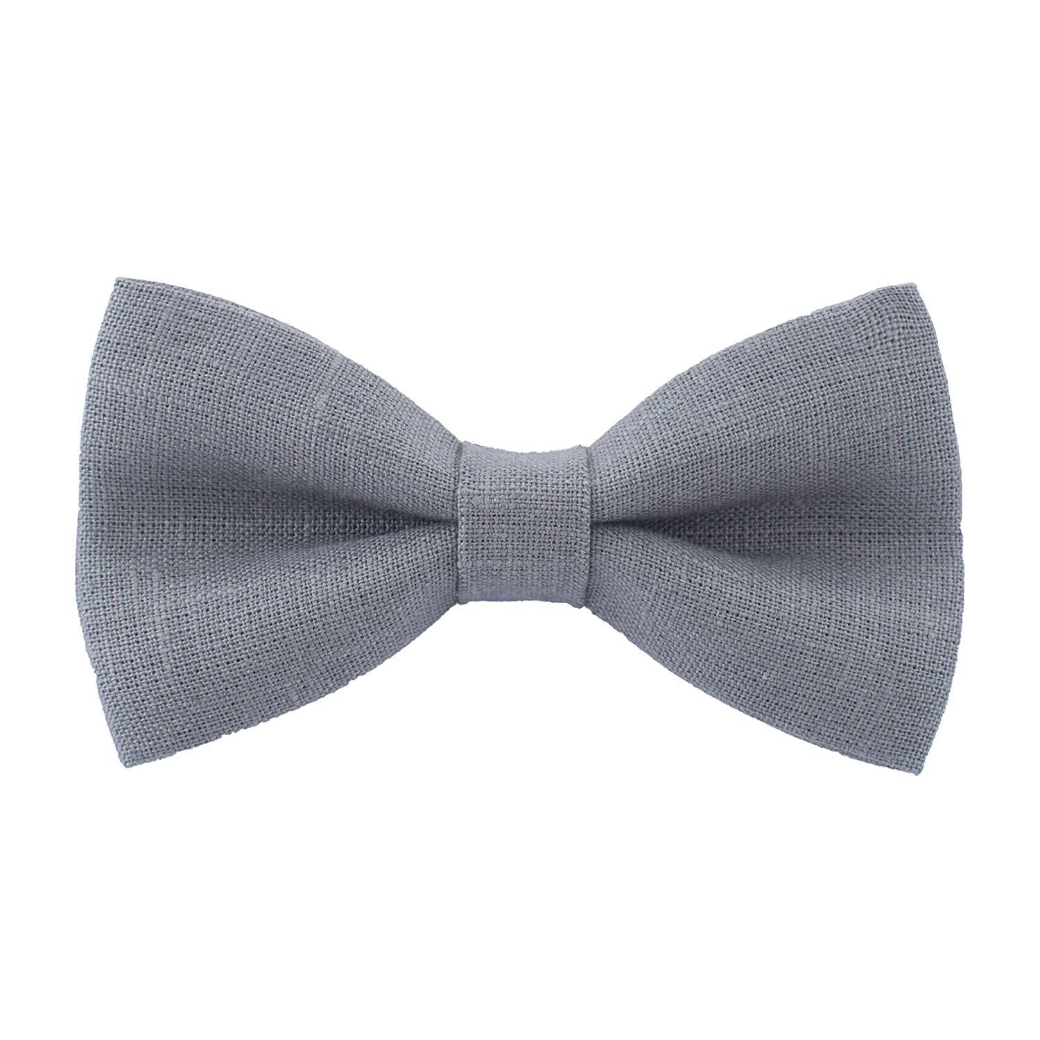 Linen Classic Pre-Tied Bow Tie Formal Solid Tuxedo, by Bow Tie House (Medium, Brown) 06578