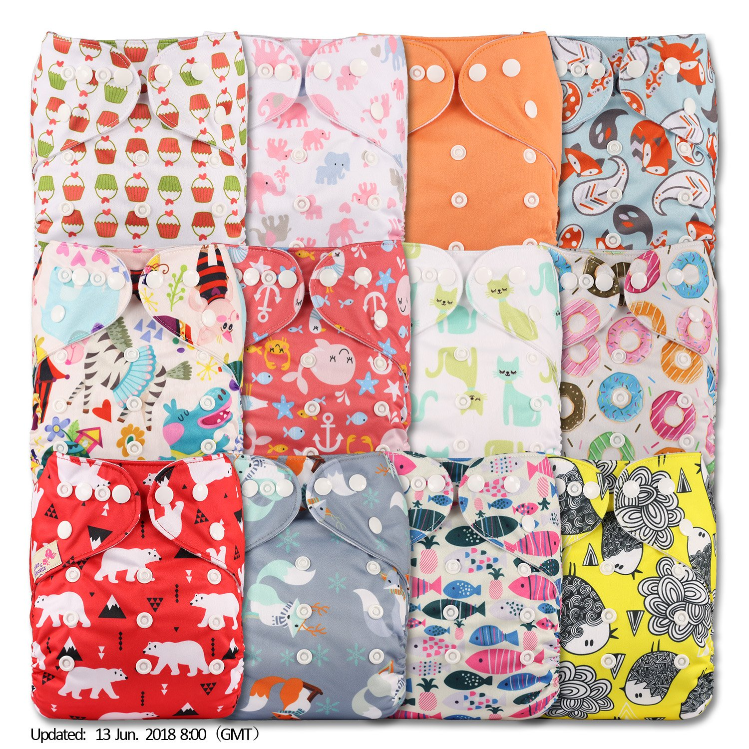 with 12 Bamboo Charcoal Inserts Fastener: Hook-Loop Reusable Pocket Cloth Nappy Littles /& Bloomz Set of 12 Patterns 1202
