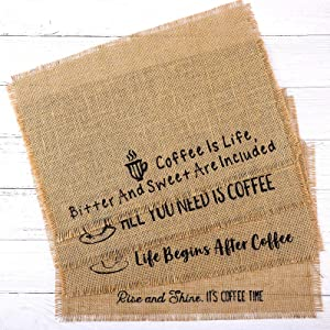 4 Pieces Burlap Coffee Placemat Coffee Maker Placemat Decoration for Kitchen, Cafes, 18 x 12 Inch