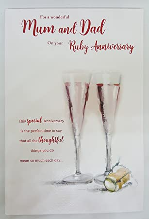 for a special mum dad on your ruby 40th wedding anniversary card icg
