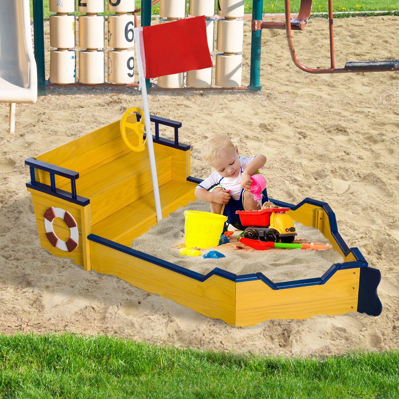 HOMCOM Arenero Niños Cajón Caja Parque de Arena para Juego Estilo Barco Juguete Playa Jardín Patio 157.5x78x46cm Madera: Amazon.es: Juguetes y juegos