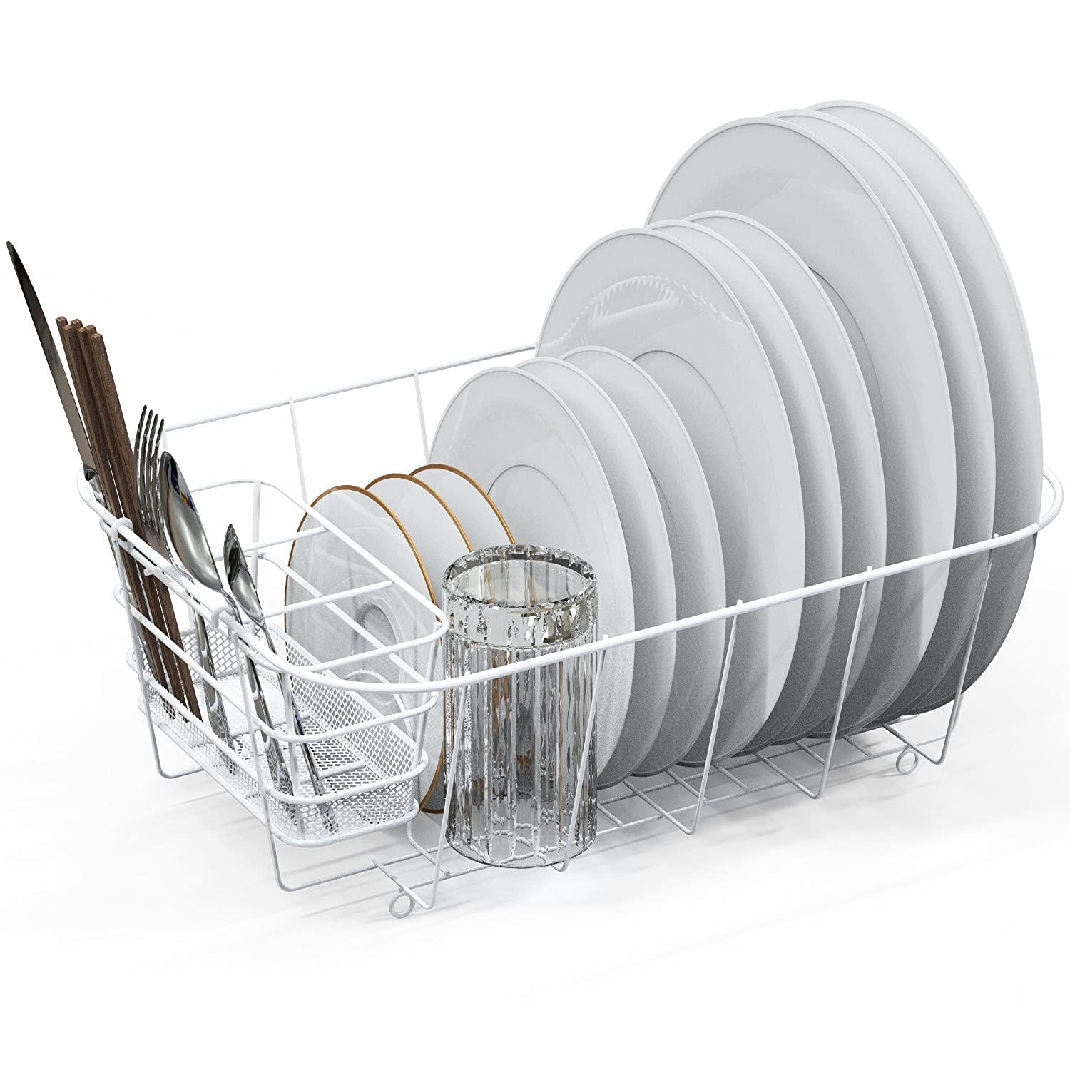 Dish Drying Rack Drainer Basket w/Utensil Caddy, White Simple Houseware CO-020-1