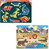 Melissa & Doug Animals Wooden Peg Puzzles Set - Safari and Dinosaurs
