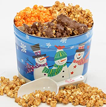 christmas popcorn tin 2 large gallons 3 flavors the perfect gift
