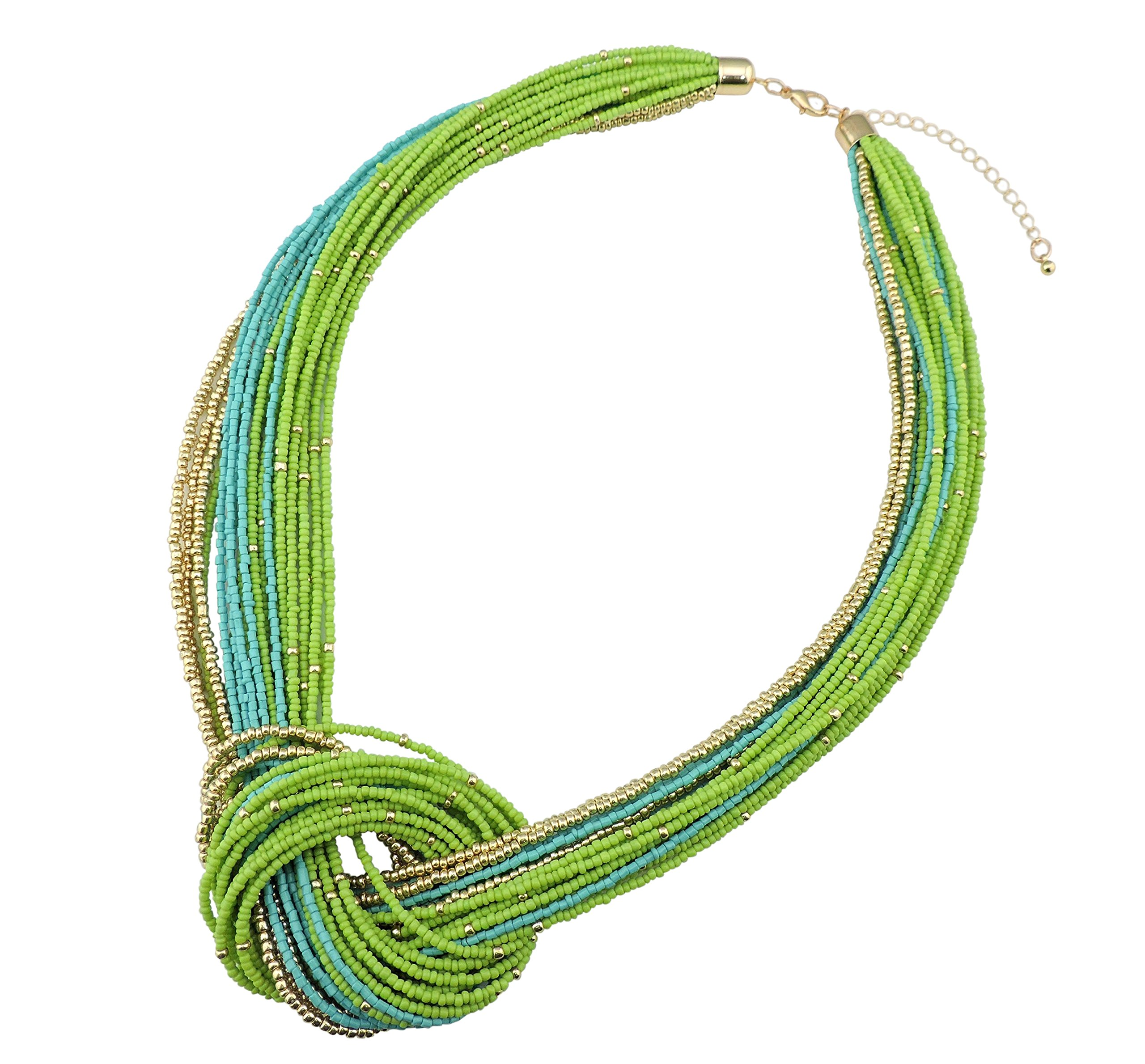 Bocar Green Seed Beads Multilayer Chunky Bib Statement Knot Necklace (NK-10316-Greenery)