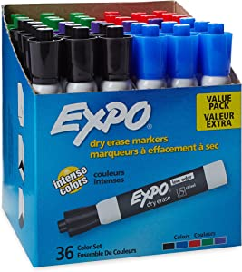 EXPO Low Odor Dry Erase Markers, Chisel Tip, Assorted, 36 Count (Pack of 1)