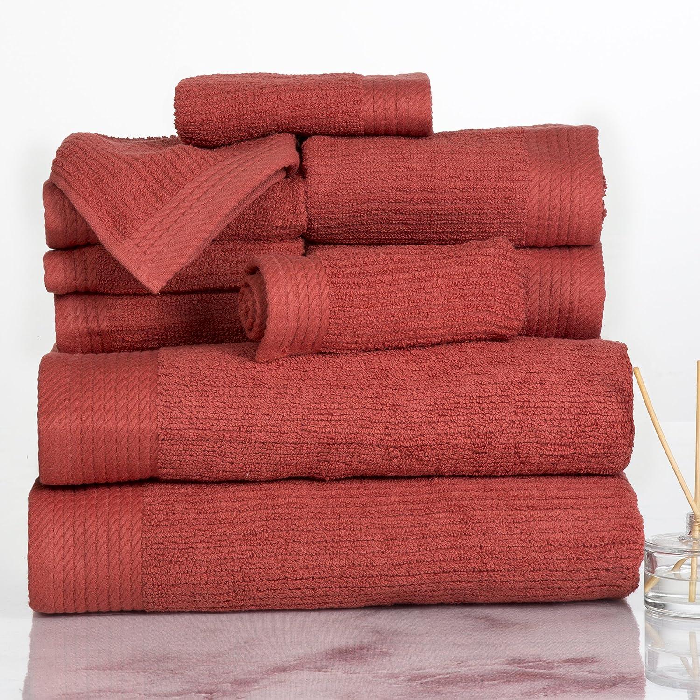 Lavish Home Ribbed 100% Cotton 10 Piece Towel Set - Brick