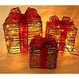 Emlyn Set of 3 Piece Lighted rattan Gift Boxes Christmas Yard Art Decoration US plug
