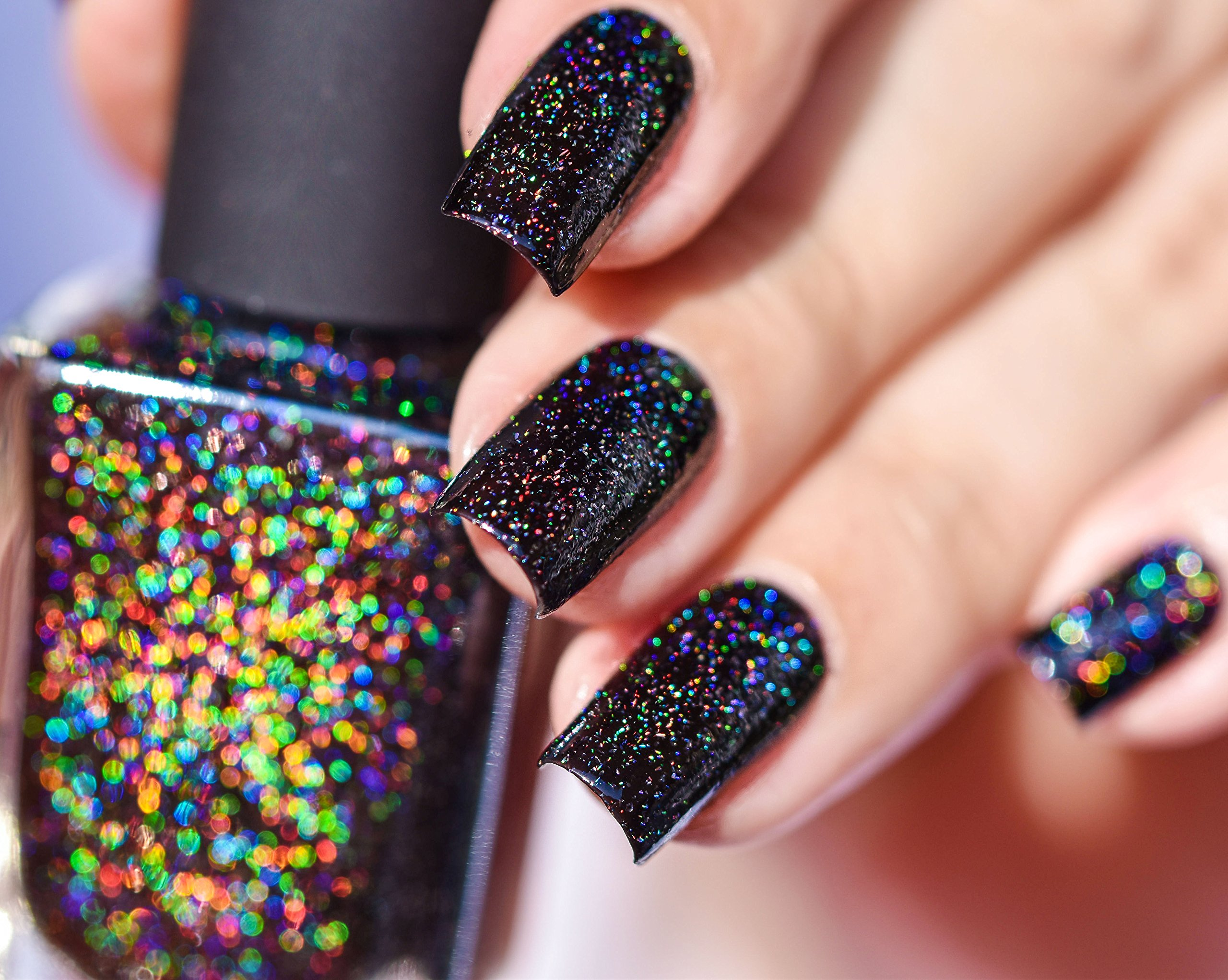 ILNP Cityscape - TRUE Black Holographic Jelly Nail Polish, High Gloss and Sparkle, Long Lasting, Chip Resistant Manicure, Non-Toxic, Vegan, Cruelty Free, 12ml by ILNP Cosmetics, Inc.