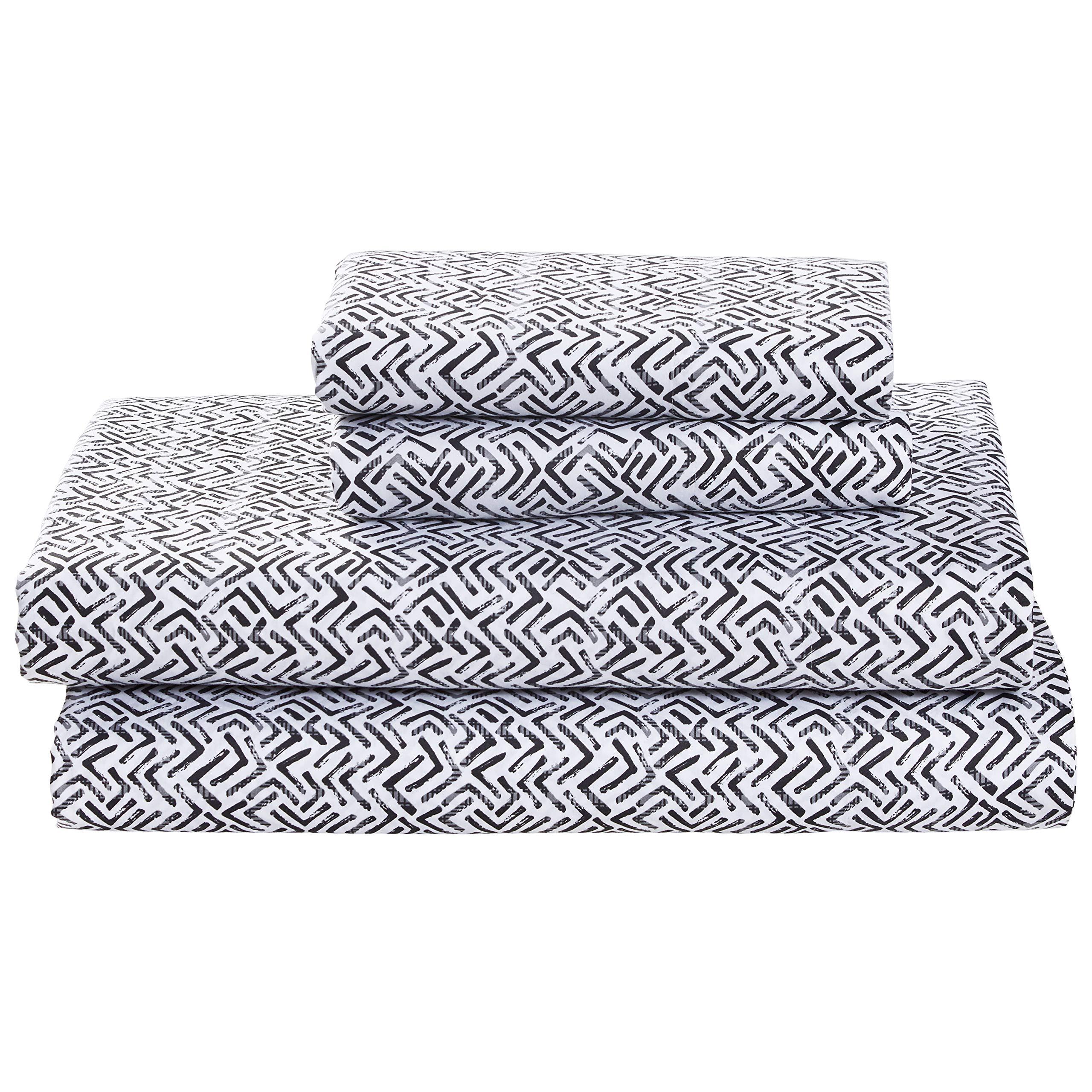 Rivet Boomerang Sateen 100% Cotton Bed Sheet Set, King, Graphite Grey