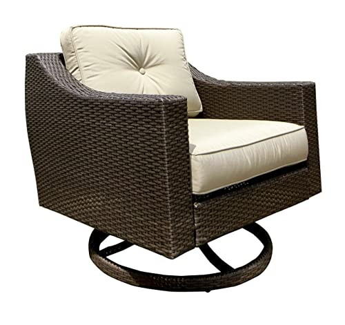 American Patio – Swivel Club Chair All Weather Wicker, Espresso, 32.28 x 31.50 x 33.47