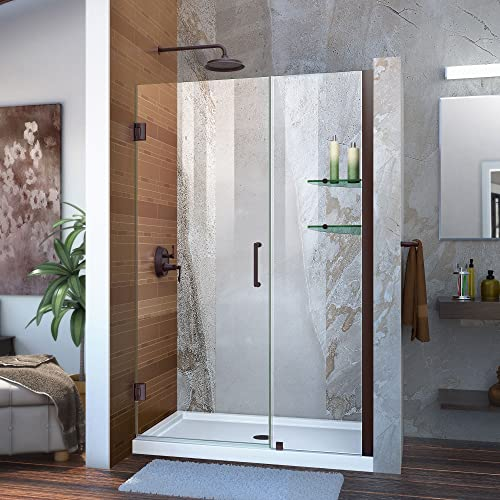 DreamLine Unidoor 44-45 in. W x 72 in. H Frameless Hinged Shower Door with Shelves in Oil Rubbed Bronze, SHDR-20447210S-06