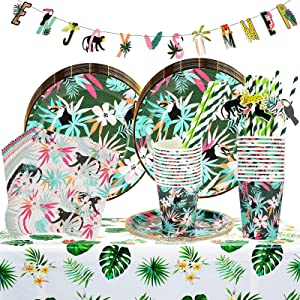 Hawaiian Party Decoration Supplies - Cute Enjoy Summer Banner and Disposable Tableware Includes Plates,Cups,Napkins,Straws,Tablecloth for Hawaiian Themed Tropical Luau Beach Party - Serves 24