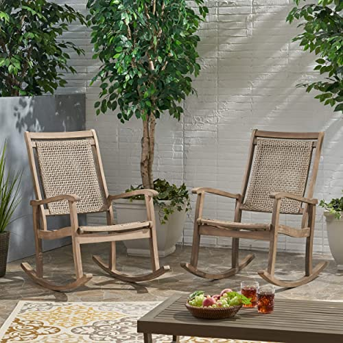 Christopher Knight Home 313135 Pearsall Outdoor Rustic Wicker Rocking Chair