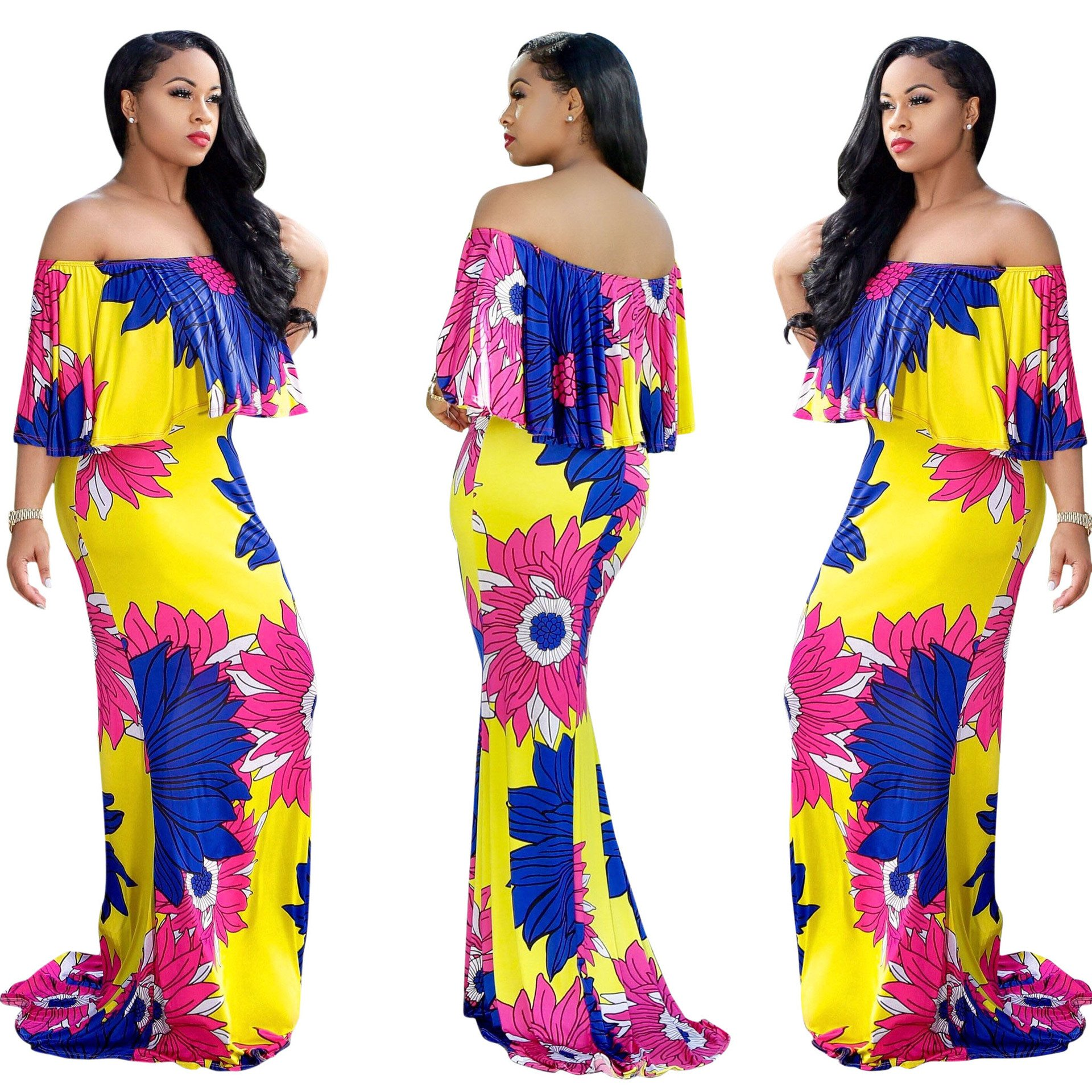Mojessy Women\'s Sexy Off Shoulder Vintage Floral Prints Long Maxi Dresses