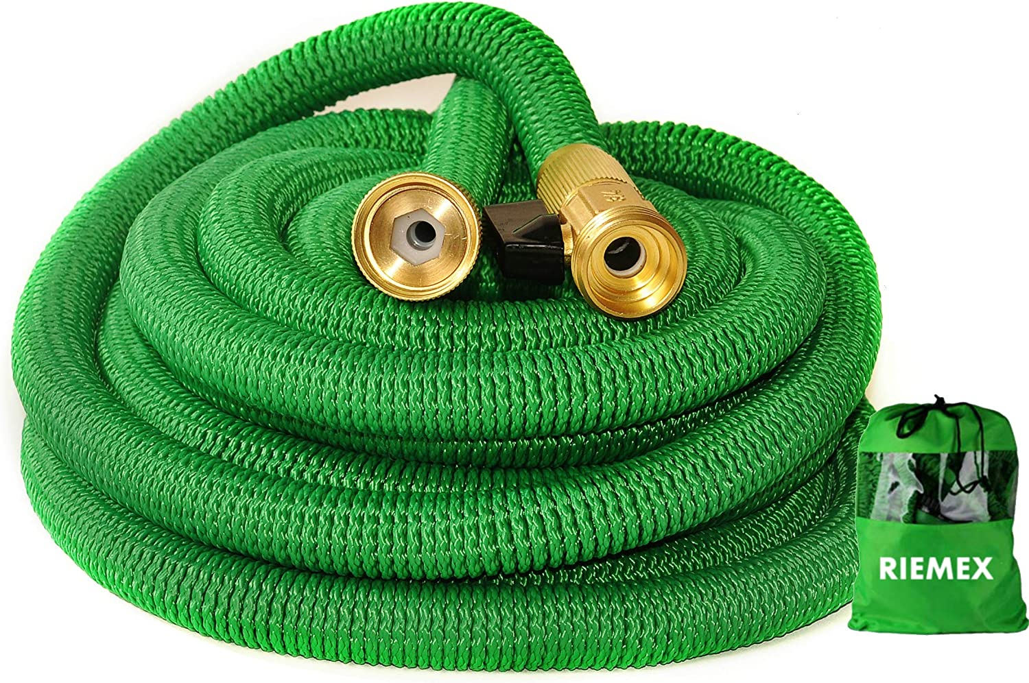 Riemex Expandable Garden Hose Green 25 FT [New 2020] Heavy Duty Water Hose - Triple Latex - Expanding Solid Brass Metal Fittings Connectors, Flexible Strongest 25FT Green