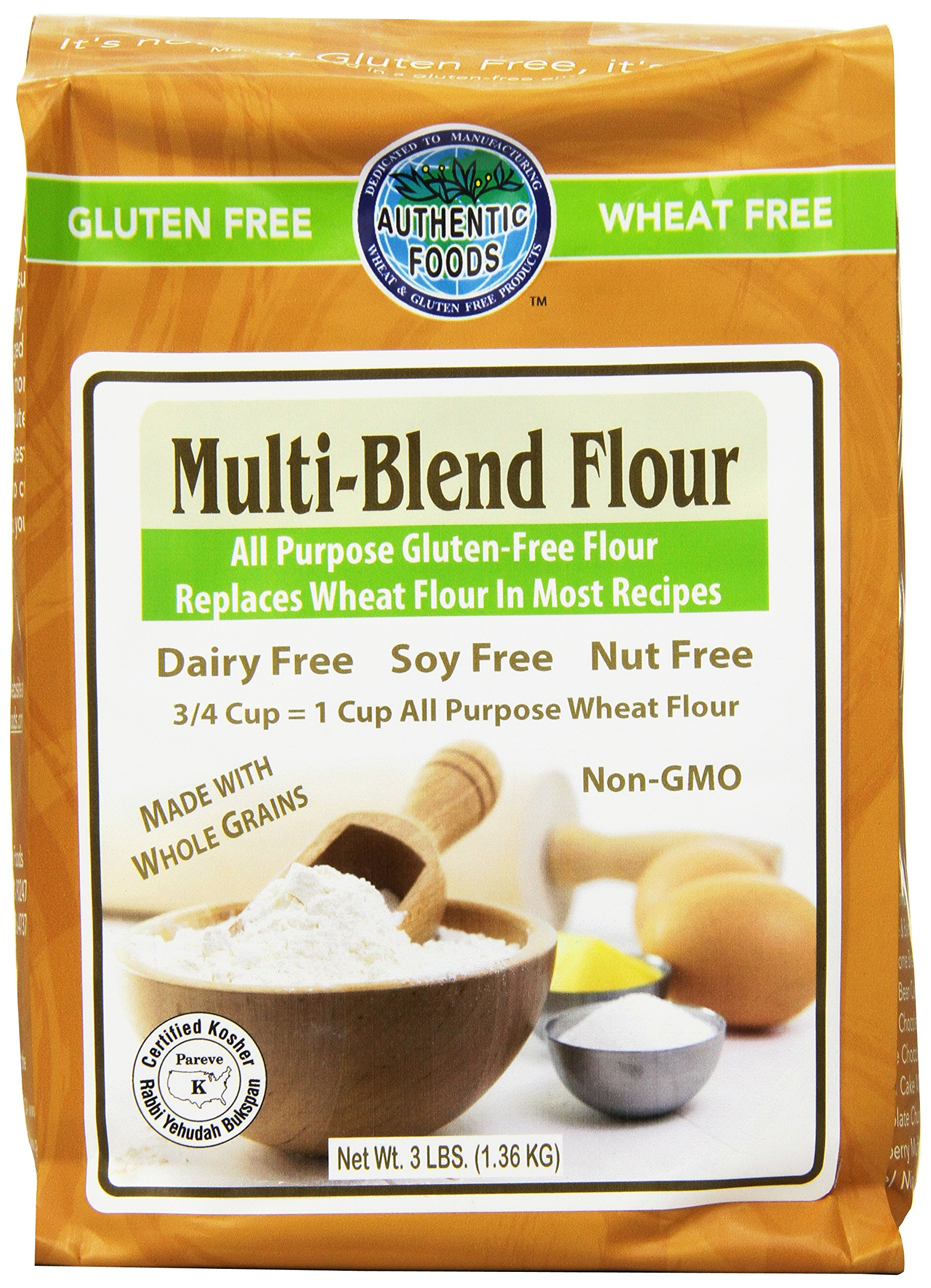 Authentic Foods Multi Blend Flour, 3 Pound (Pack of 6)