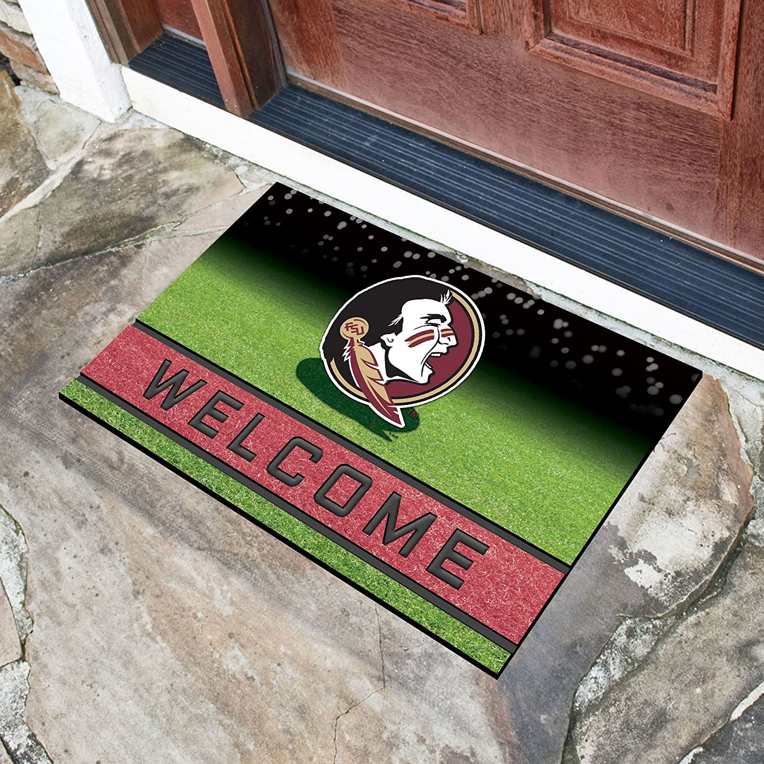 FANMATS 19968 Team Color 18 x 30 Crumb Rubber Florida State University Door Mat