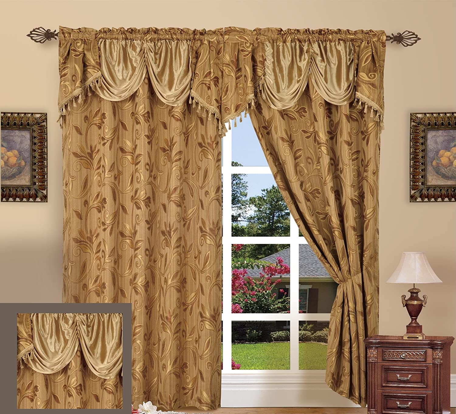 """Jacquard Curtain Panel Set With Attached Valance 55"""" X 84"""