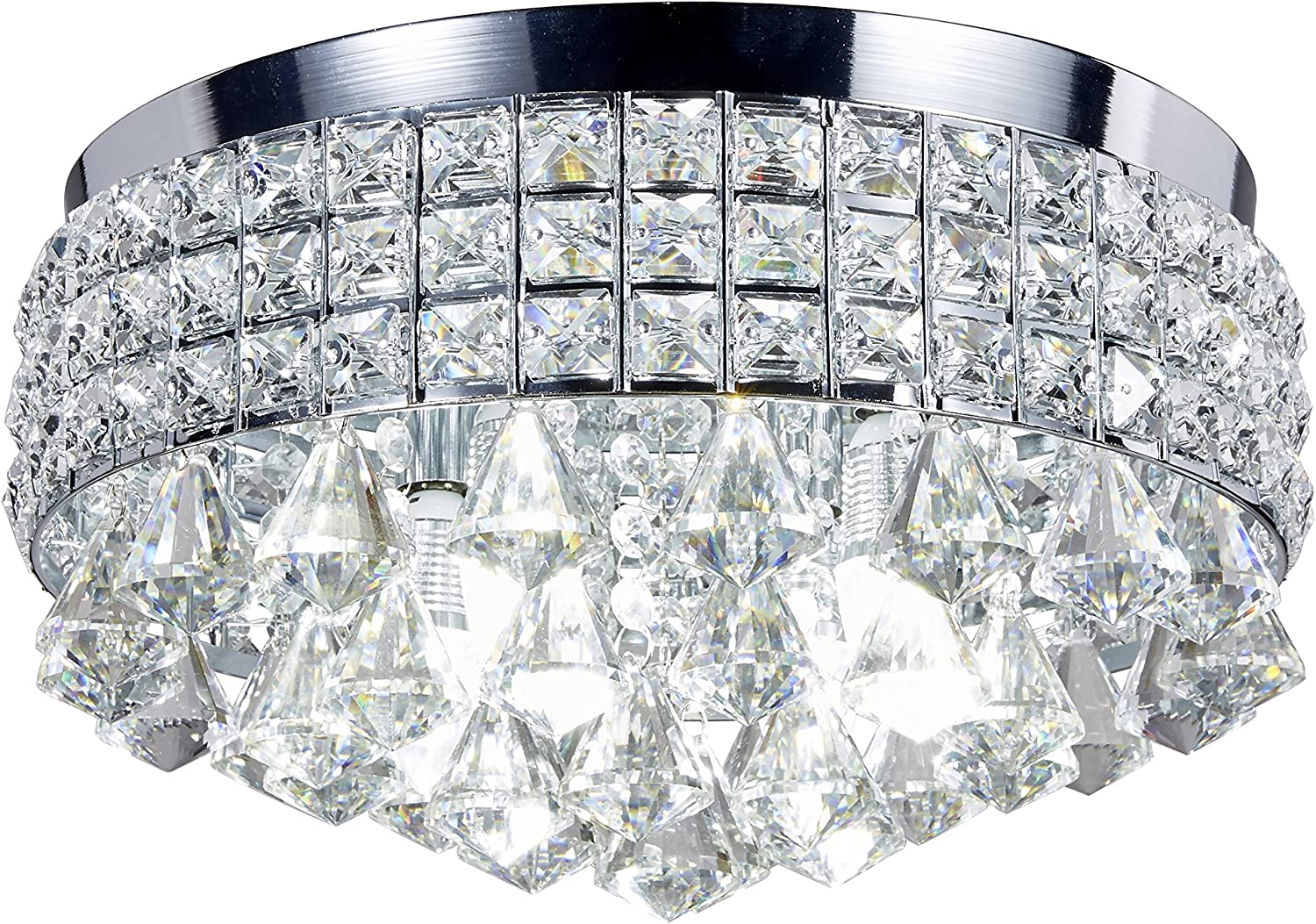 New Galaxy 4-Light Chrome Finish Metal Shade Flushmount Crystal Chandelier Ceiling Fixture