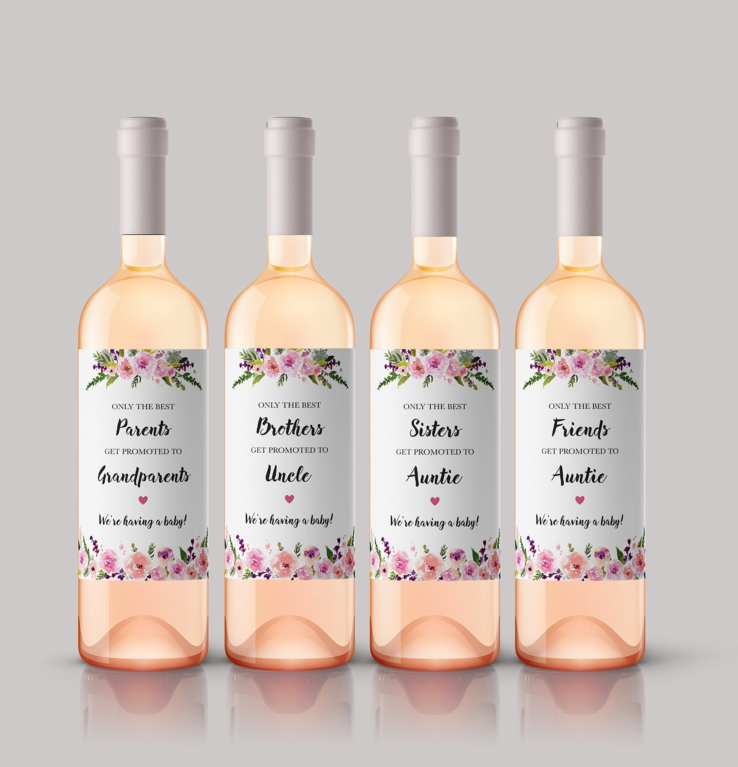 ● SET of 6 ● FAMILY & FRIENDS Pregnancy Announcement Wine Labels: 2 PARENTS Get Promoted to GRANDPARENTS Labels + 1 SISTERS to AUNTIE + 1 BROTHERS to UNCLE + 2 FRIENDS to AUNTIE Labels, A140-2PSBF1-WL