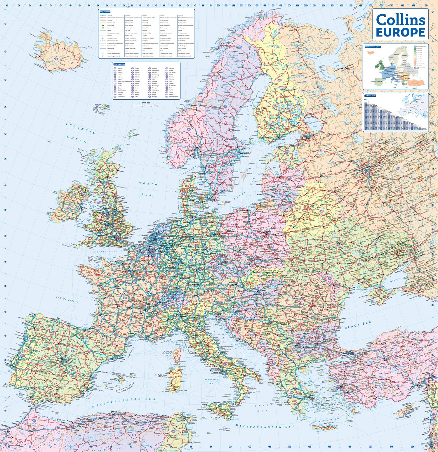 2015 Map Of Europe.2016 Collins Map Of Europe Collins Maps 9780008146368 Amazon Com