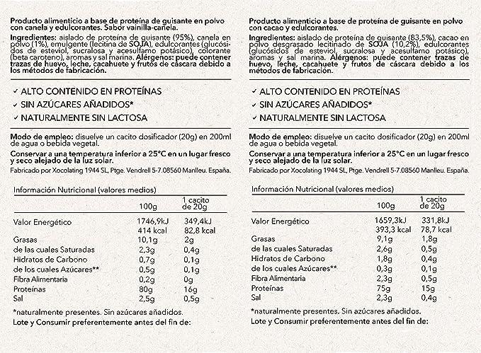 Body Genius Smarter Nutrition Dúo Vegan Protein Proteína Vegana, Sin Azúcar Añadido y Con Estevia - 2x340 g